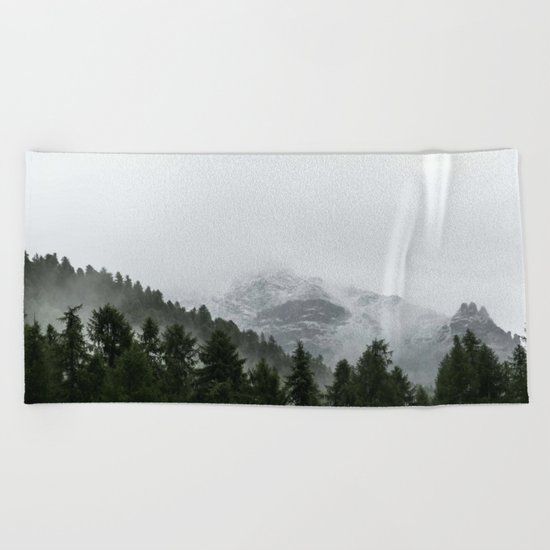 Faded Forest Landscape Beach Towel