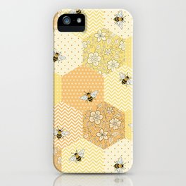 Patchwork Bees Pattern iPhone Case