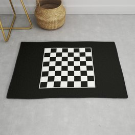 Vintage Chessboard & Checkers - Black & White Rug