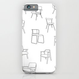 Mid Century Chairs Print Black and white iPhone Case