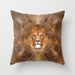 Lion Sacred Geometry Digital Art Throw Pillow