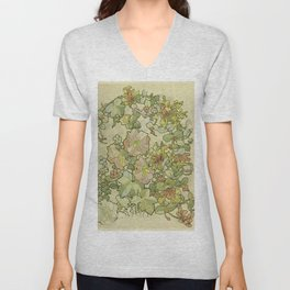 "Alphonse Mucha ""Printed textile design with hollyhocks in foreground"" Unisex V-Neck"
