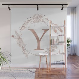 Letter Y Rose Gold Pink Initial Monogram Wall Mural