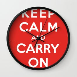 Classic Vintage 'keep calm and carry on' print Wall Clock