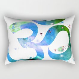Om, blue green painting Rectangular Pillow