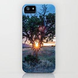 Sun Tree Hammock // Grainy Night Sunset Rays Hiking Landscape Photograph Wilderness Beauty iPhone Case