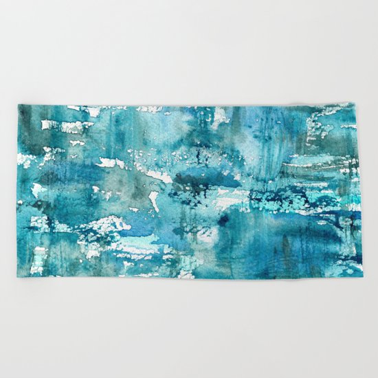 Turquoise blue passion || watercolor Beach Towel
