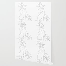 Minimal Line Art Woman with Tropical Leaves Wallpaper