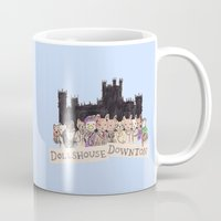 downton abbey Mugs featuring Downton Abbey - Dollshouse Downton by Grace Venning