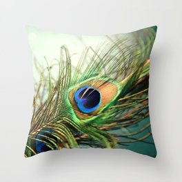 peacock feather-teal Throw Pillow
