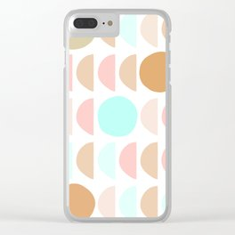 Mid Century Modern Geometric Moon and Sun pattern Clear iPhone Case