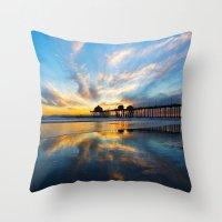 calendars Throw Pillows featuring Sunset ~ Huntington Beach Pier CA  11/7/13 by John Minar Fine Art Photography