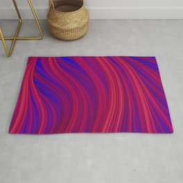 Rouge and Blue Flowing Strands Rug
