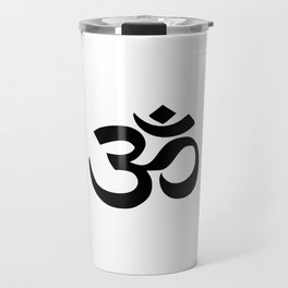 Minimal Black & White Om Symbol Travel Mug
