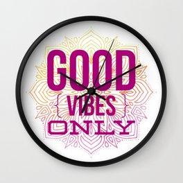 Good Vibes Only Mandala Watercolor Wall Clock