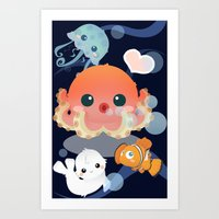 Swim with us! Art Print