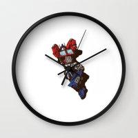optimus prime Wall Clocks featuring Optimus  by Sergey Yaroshenko