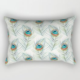 Peacock Tail Feather – Watercolor Rectangular Pillow