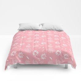 Powder Pink Floral Shapes 1 Comforters
