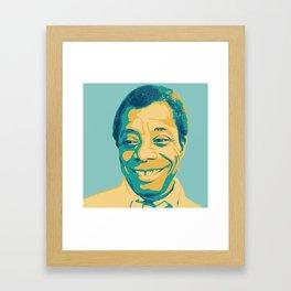 James Baldwin Portrait Teal Gold Blue Framed Art Print