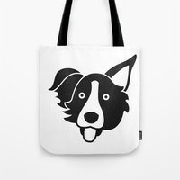 border collie Tote Bags featuring Border Collie by anabelledubois