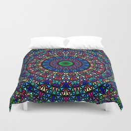 Colorful Church Window Mandala Duvet Cover