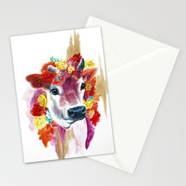 Cow Indian Blossom Yoga Art Stationery Cards