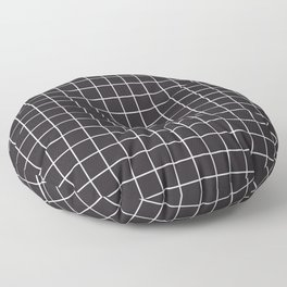 Raisin black - black color - White Lines Grid Pattern Floor Pillow
