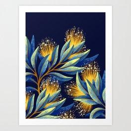 Pohutukawa - Yellow / Blue Art Print