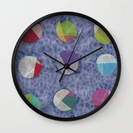 Layered Dots on Blue Wall Clock