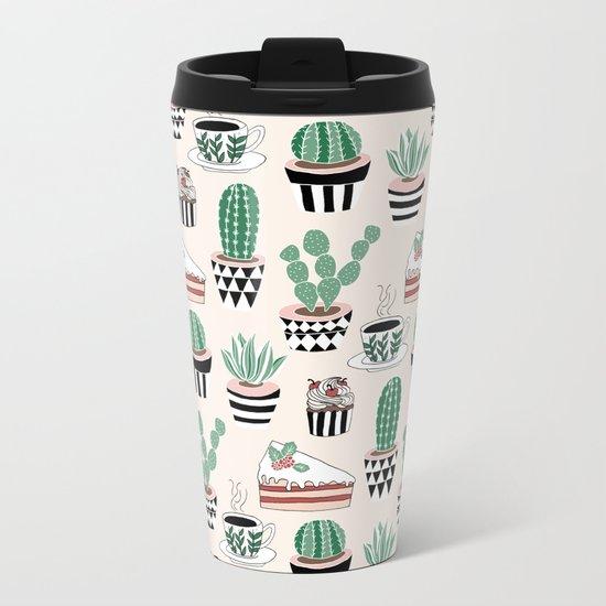 Cacti, Coffee and Cake Metal Travel Mug