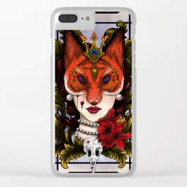 Fox Faced Girl Clear iPhone Case