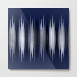 Linear Blue & Silver Metal Print