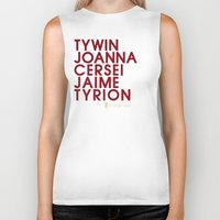 lannister Biker Tanks featuring House Lannister 1 Typography series II by P3RF3KT