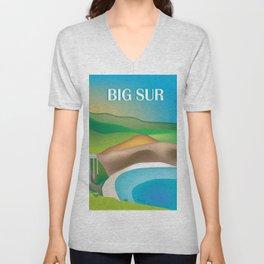Big Sur, California - Skyline Illustration by Loose Petals Unisex V-Neck