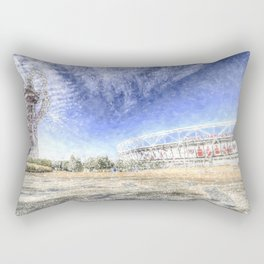 West Ham Olympic Stadium And The Arcelormittal Orbit Snow Rectangular Pillow