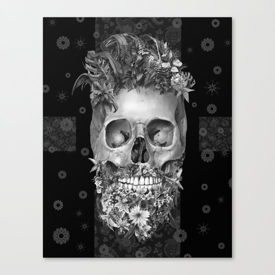 floral beard skull 3 Canvas Print