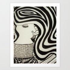 woman in a sweater Art Print
