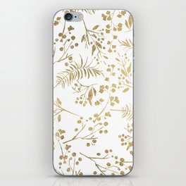 Elegant modern white faux gold floral iPhone Skin
