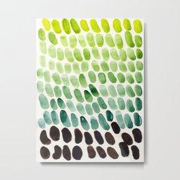 Green Teal Watercolor Abstract Organic Pattern MInimalist Abstract Colorful Pattern Natural Geometri Metal Print