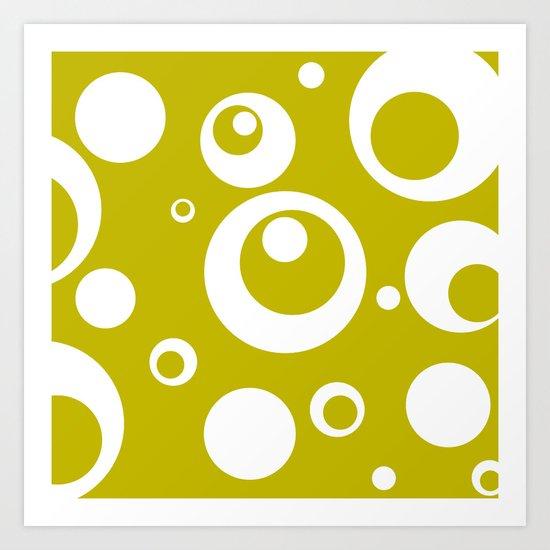 Circles Dots Bubbles :: Citron Art Print