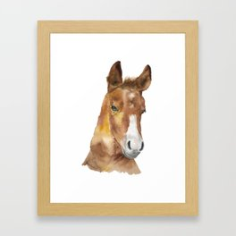 Horse Head Watercolor Framed Art Print