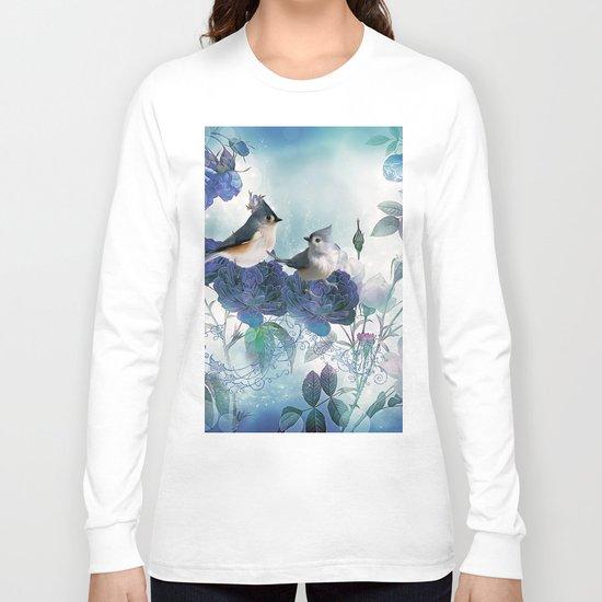Cute birds with flowers Long Sleeve T-shirt