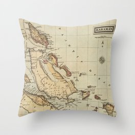 Vintage Map of The Bahamas (1823) Throw Pillow