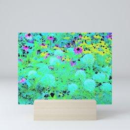 Impressionistic Aqua Garden Landscape Hydrangeas Mini Art Print