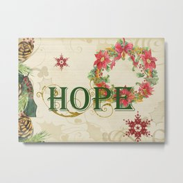 Christmas Hope Collage Poinsettia Wreath Snowflakes Scrolls Metal Print