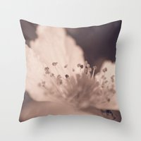 peach Throw Pillows featuring Peach by holleyphotography