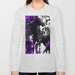 HORSE BLACK AND PURPLE THUNDER INK SPLASH Long Sleeve T-shirt