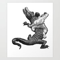 wrestling Art Prints featuring Crocodile wrestling! by Noughton