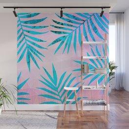 Refreshing Geometric Palm Tree Leaves Tropical Chill Design Wall Mural